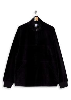 Topman Stretch Cotton Blend Half Zip Pullover