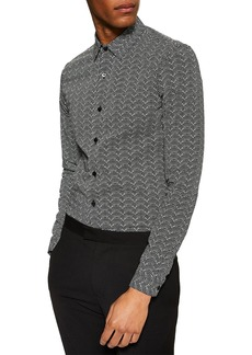 Topman Stretch Skinny Fit Ditsy Dot Print Shirt