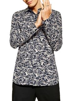 Topman Stretch Skinny Fit Floral Print Shirt
