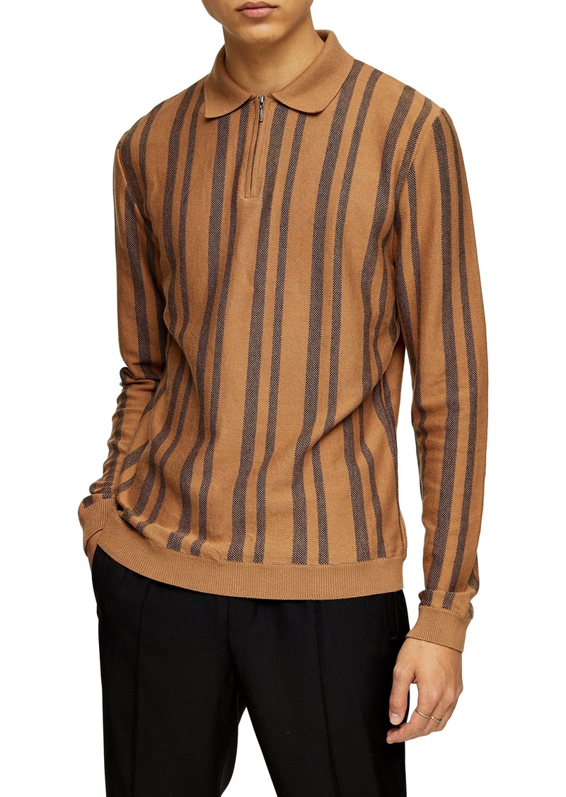 Topman Stripe Long Sleeve Zip Polo