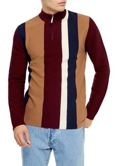 Topman Stripe Mock Neck Quarter Zip Sweater