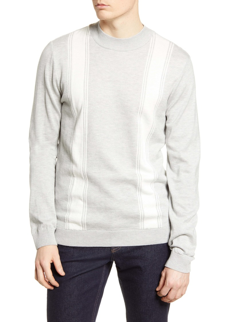Topman Stripe Mock Neck Sweater
