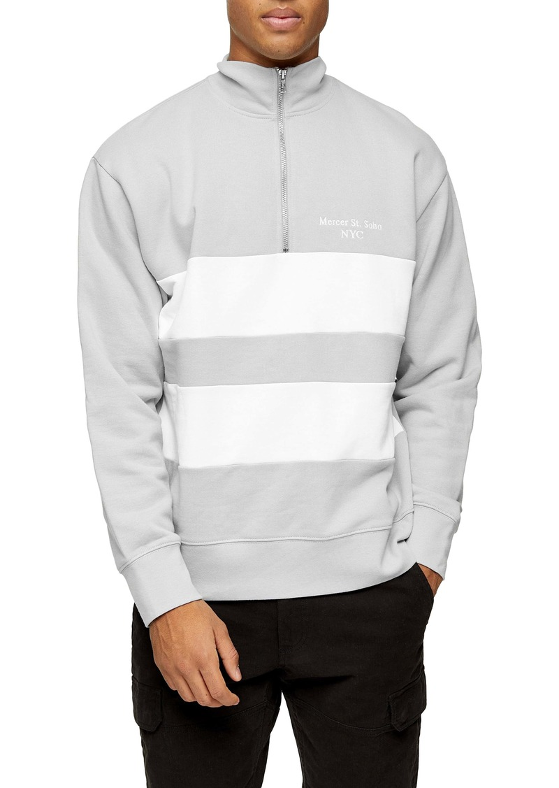 Topman Stripe Quarter Zip Sweatshirt
