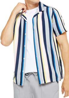 Topman Stripe Slim Fit Button-Up Camp Shirt