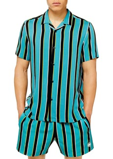 Topman Stripe Slim Fit Button-Up Camp Shirt