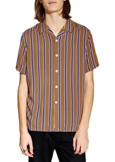Topman Stripe Revere Collar Camp Shirt