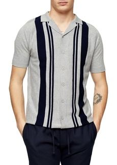 Topman Stripe Revere Collar Short Sleeve Button-Up Sweater