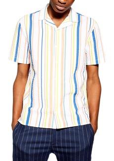 Topman Stripe Seersucker Camp Shirt