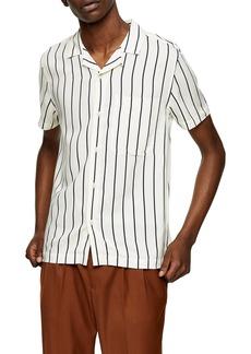 Topman Stripe Short Sleeve Button-Up Camp Shirt