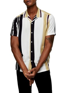 Topman Stripe Short Sleeve Button-Up Camp Shirt