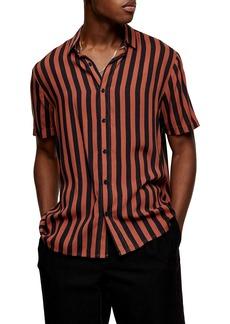 Topman Stripe Short Sleeve Button-Up Shirt