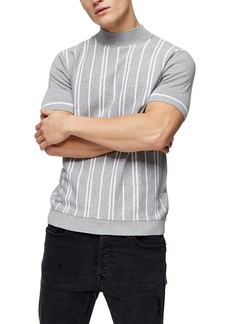 Topman Stripe Short Sleeve Mock Neck Sweater