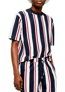 Topman Stripe Short Sleeve Velour Sweatshirt