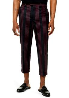 Topman Stripe Slim Fit Crop Dress Pants