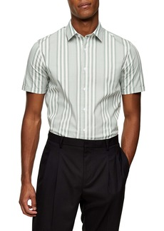 Topman Stripe Slim Fit Short Sleeve Button-Up Shirt