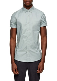 Topman Stripe Tape Short Sleeve Button-Down Shirt