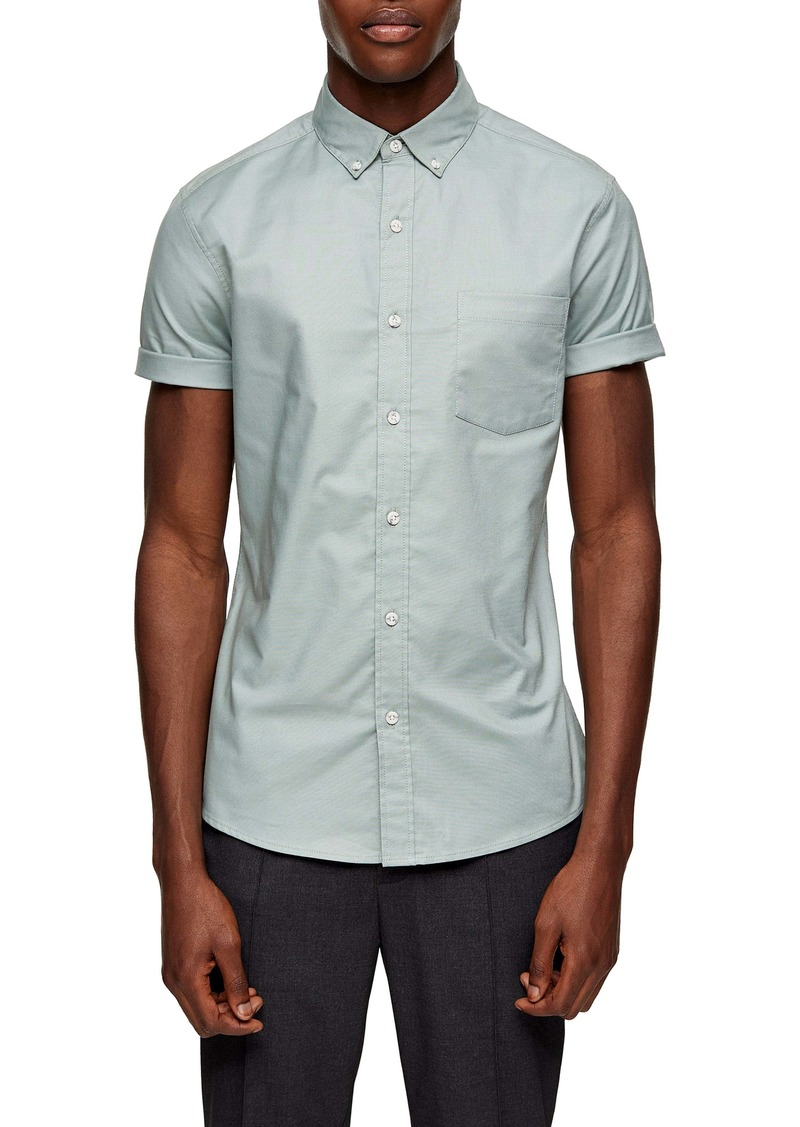 Topman Stripe Tape Short Sleeve Button-Down Shirt