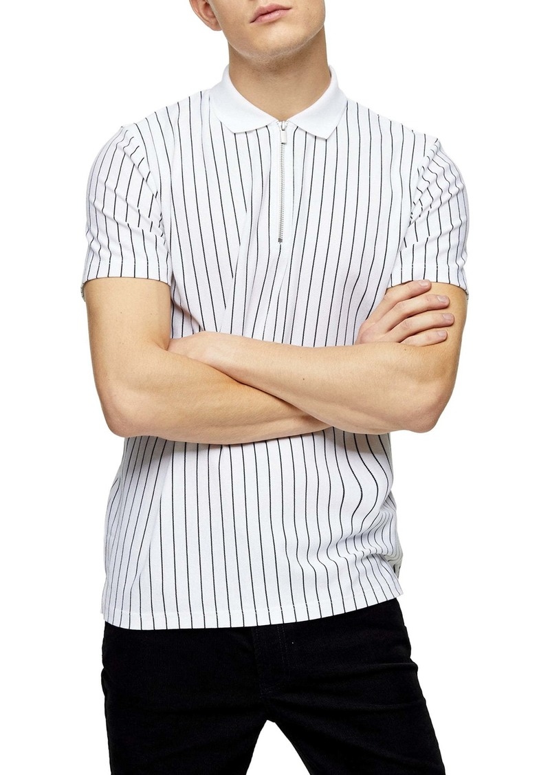 Topman Stripe Zip Piqué Polo