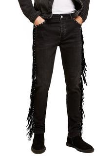 Topman Studded Fringe Skinny Fit Jeans