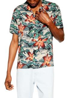 Topman Surfer Orchid Print Short Sleeve Button-Up Camp Shirt