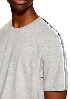 Topman Tape Heathered Crewneck T-Shirt