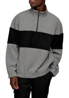 Topman Textured Quarter Zip Pullover