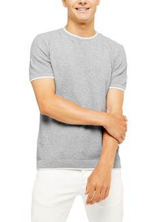 Topman Textured Short Sleeve Crewneck Sweater