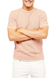 Topman Textured Short Sleeve Crewneck Sweater