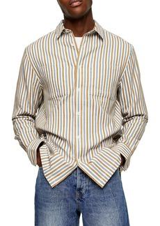 Topman Textured Stripe Button-Up Shirt
