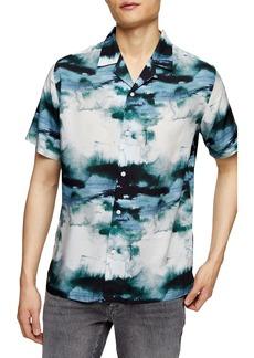Topman Tie Dye Short Sleeve Button-Up Camp Shirt