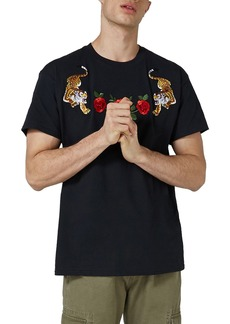 Topman Tiger & Rose Appliqué Classic Fit T-Shirt