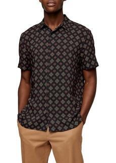 Topman Tile Print Short Sleeve Button-Up Shirt