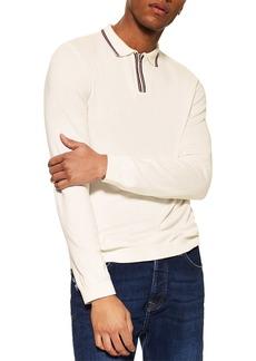 Topman Tipped Zip Long Sleeve Polo