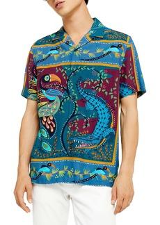 Topman Toucan Revere Slim Fit Camp Shirt