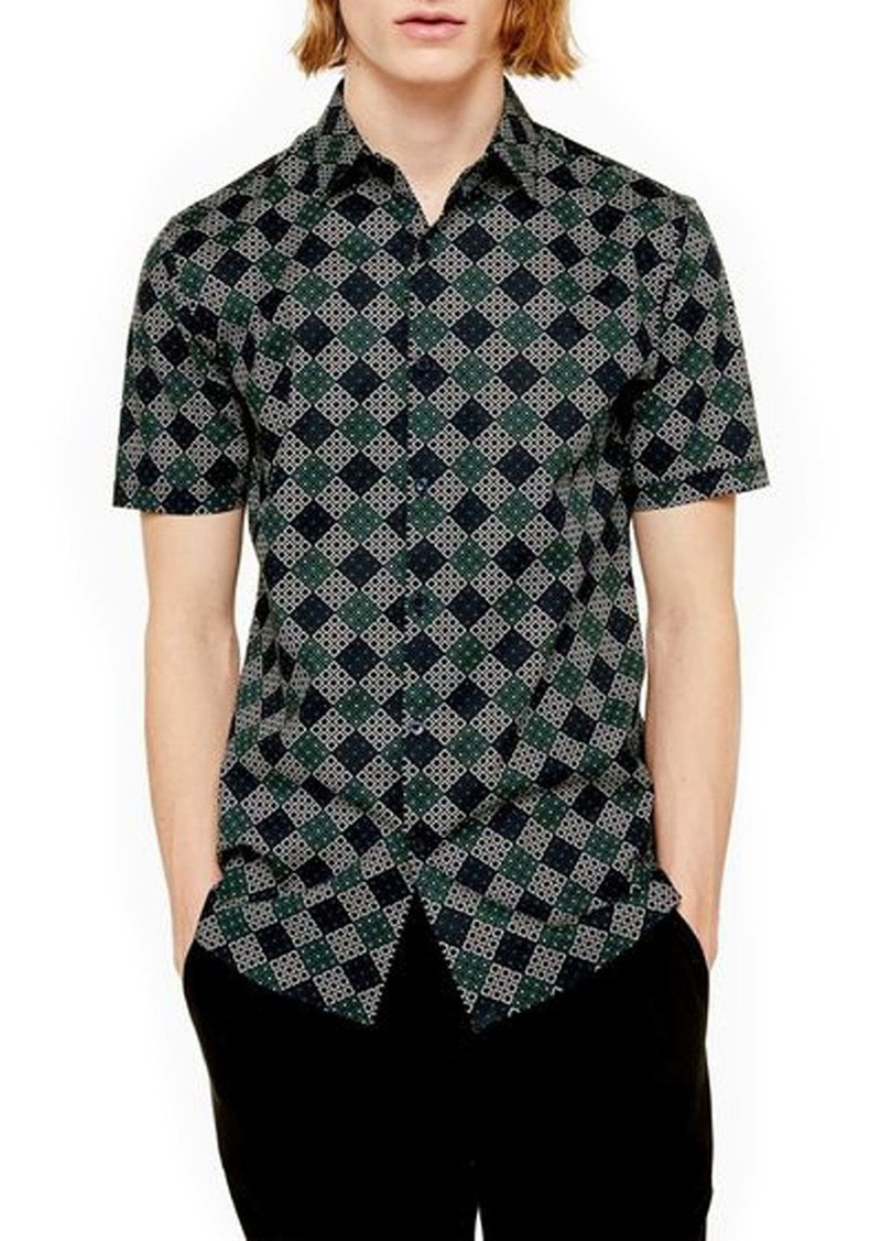 Topman Trim Fit Geometric Print Short Sleeve Button-Up Shirt