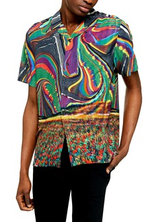 Topman Trippy Field Revere Slim Fit Short Sleeve Button-Up Shirt
