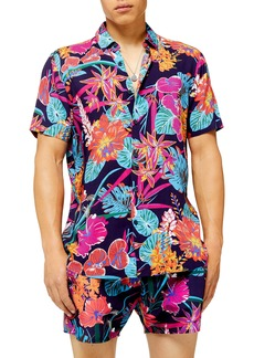 Topman Tropical Slim Fit Short Sleeve Button-Up Shirt