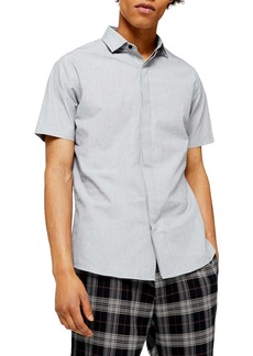 Topman Turn Up Slim Fit Short Sleeve Shirt