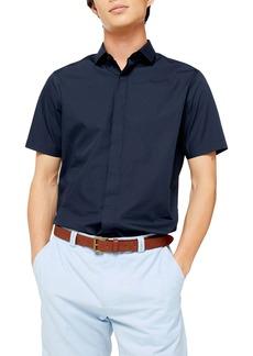 Topman Turn Up Slim Fit Short Sleeve Shirt