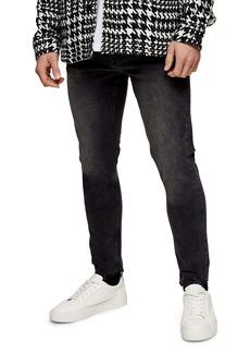 Topman Tyler Ripped Hem Mne's Stretch Skinny Fit Jeans