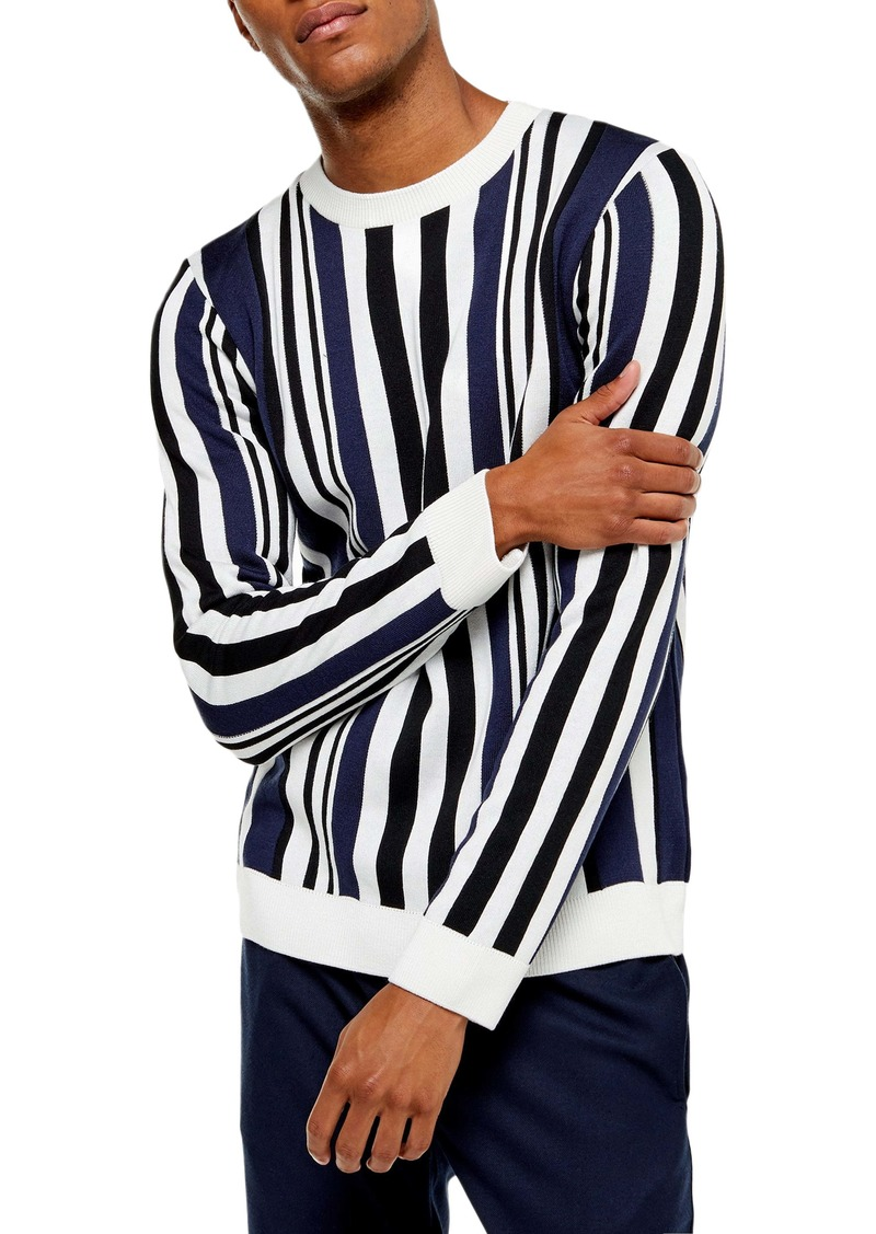 Topman Vertical Stripe Crewneck Sweater
