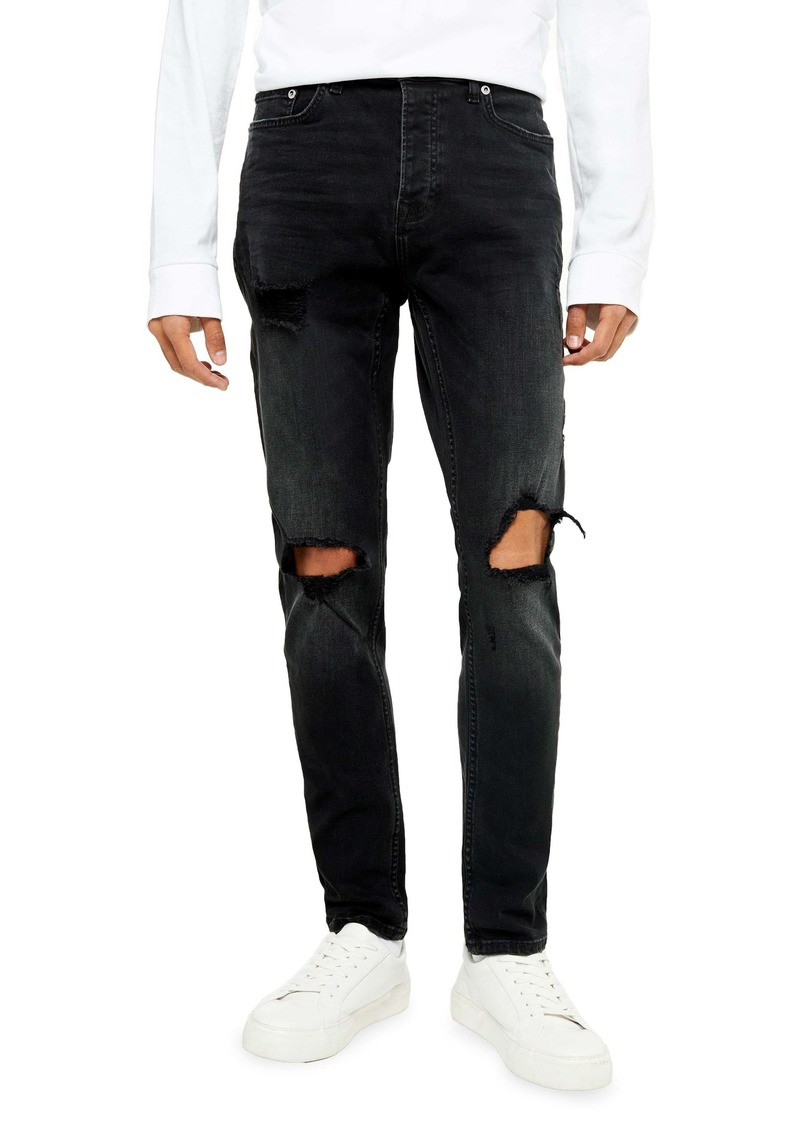 Topman Washed Black Blowout Ripped Skinny Jeans