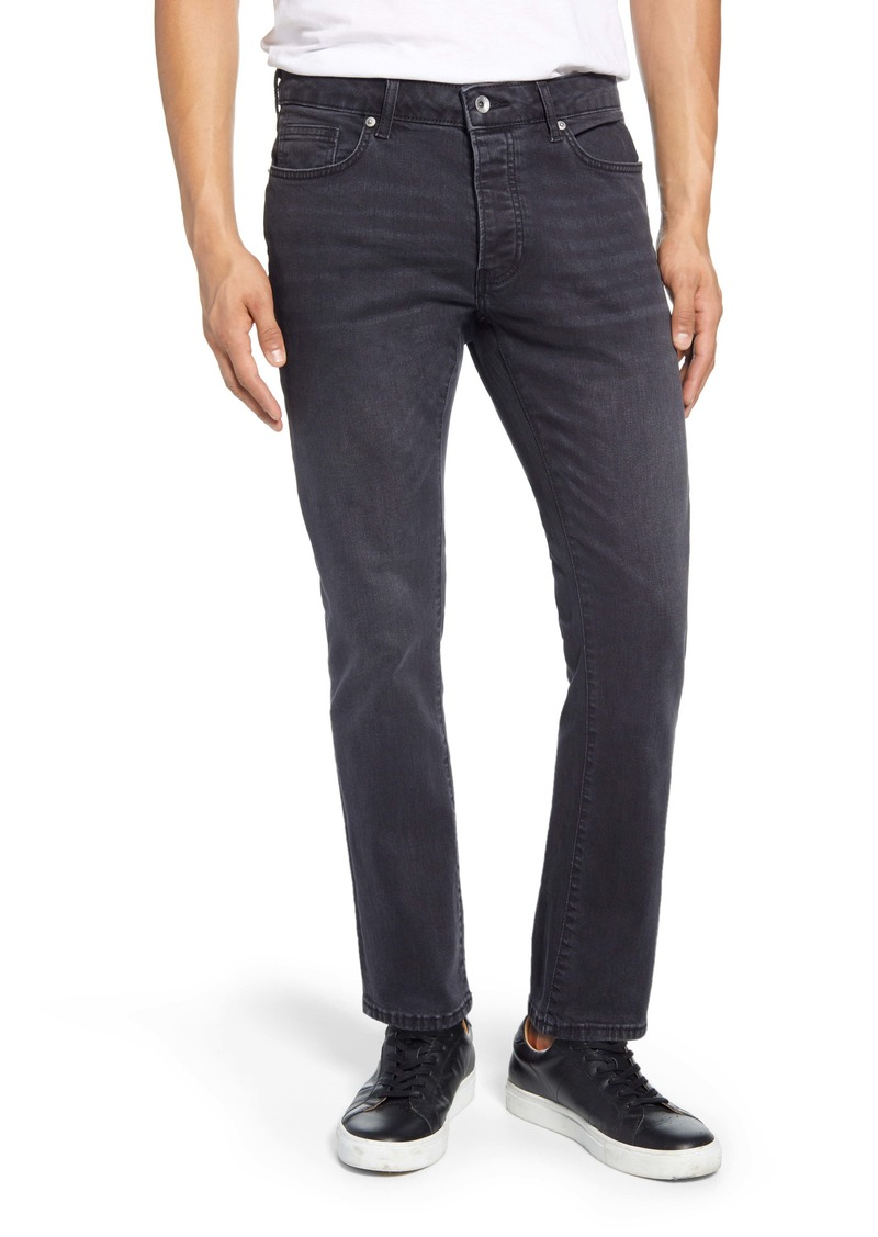Topman Washed Black Slim Fit Jeans