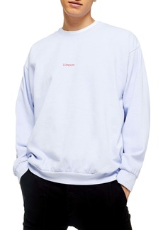 Topman Washed London Classic Fit Crewneck Sweatshirt