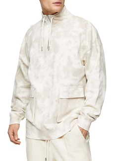 Topman Western Utility Marbled Quarter Zip Pullover