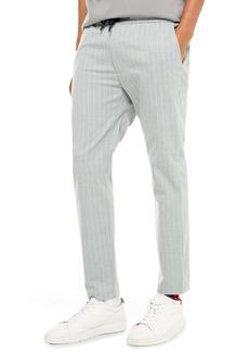 Topman Whyatt Stripe Skinny Fit Ankle Trousers