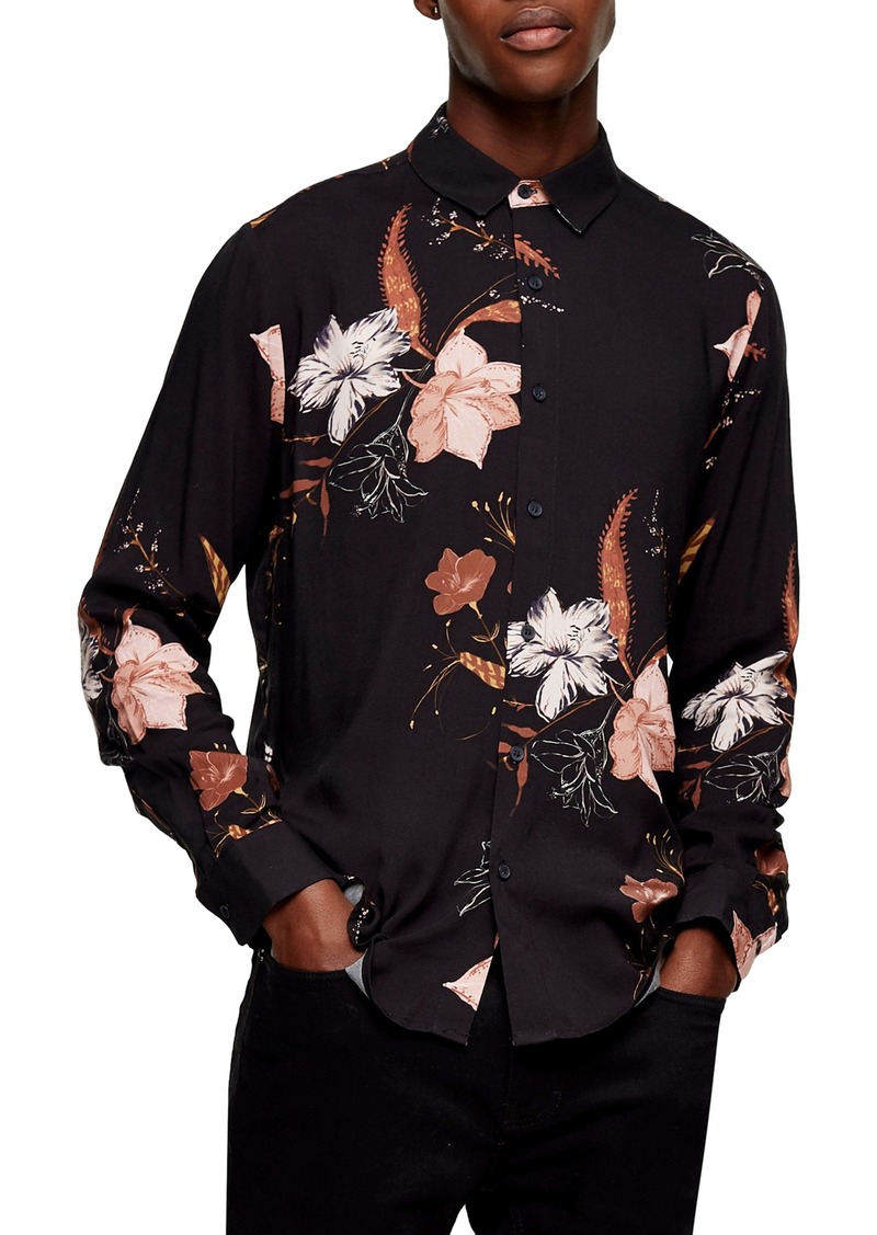 Topman Winter Floral Print Button-Up Shirt