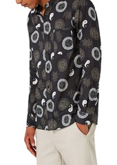 Topman Yin Yang Print Band Collar Shirt