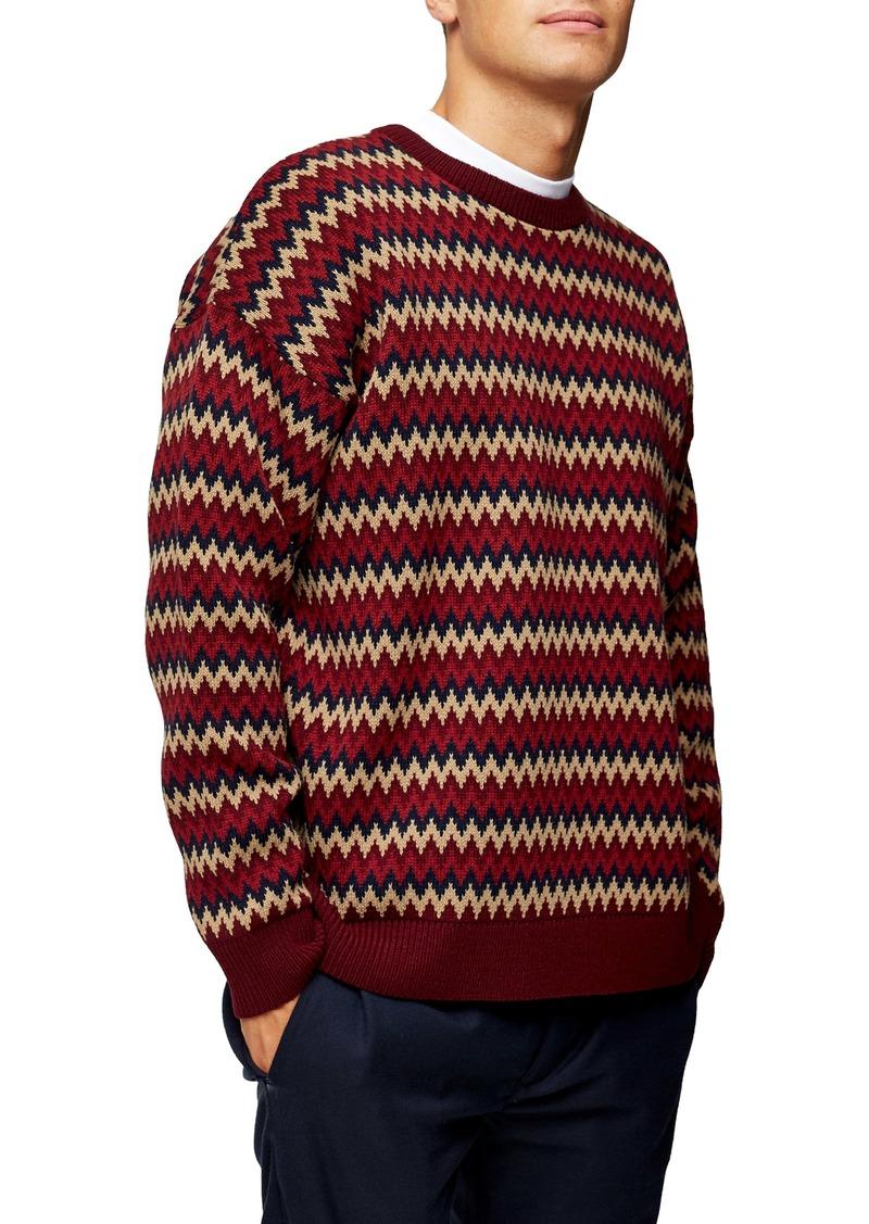 Topman Zigzag Oversize Crewneck Sweater