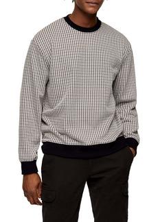Topman Topmman Houndstooth Crewneck Sweatshirt